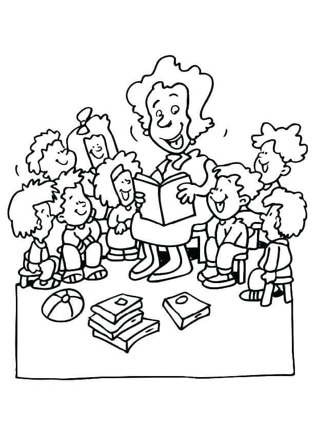 Giggling Teacher And Students Coloring Page