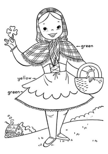 Girl With Shamrock Colouring Page