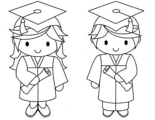 Graduate Kindergarten Students Coloring Page