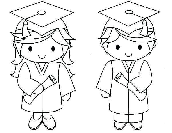 Graduate Kindergarten Students Coloring Page