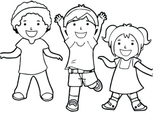 Happy Kids After Graduation Coloring Page