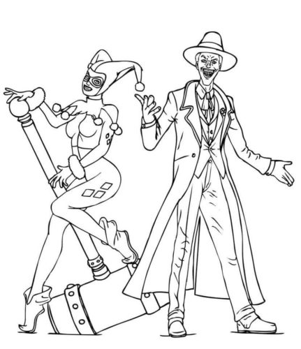 Harley Quinn And Joker From Batman Coloring Page