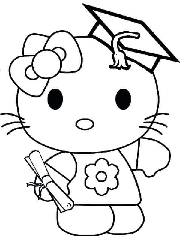 Hello Kitty On Her Kindergarten Graduation Coloring Page