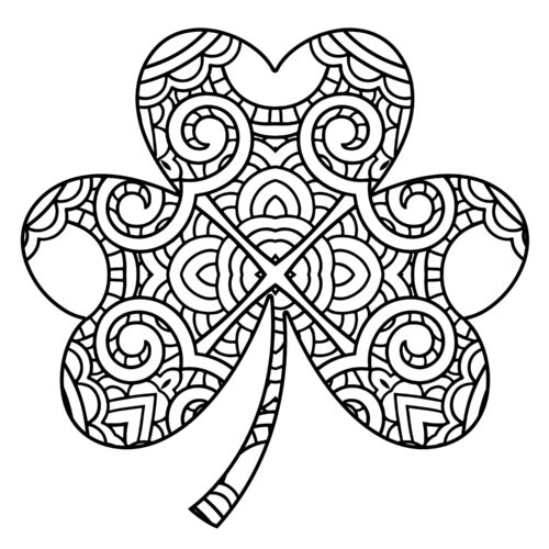 Intricate Shamrock Coloring Page