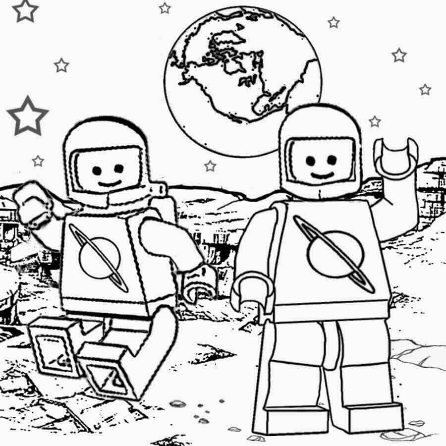 Lego In Space Coloring Page