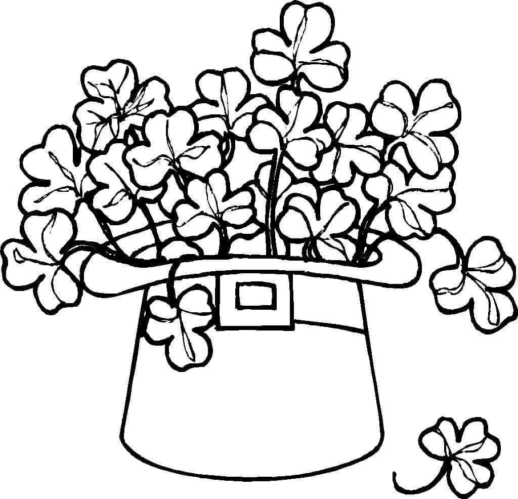 Leprechaun Hat And Clovers Coloring Page