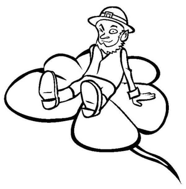 Leprechaun On Shamroc Coloring Sheet