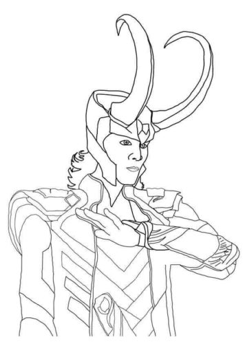 Loki From Avengers 2012 Film Coloring Page