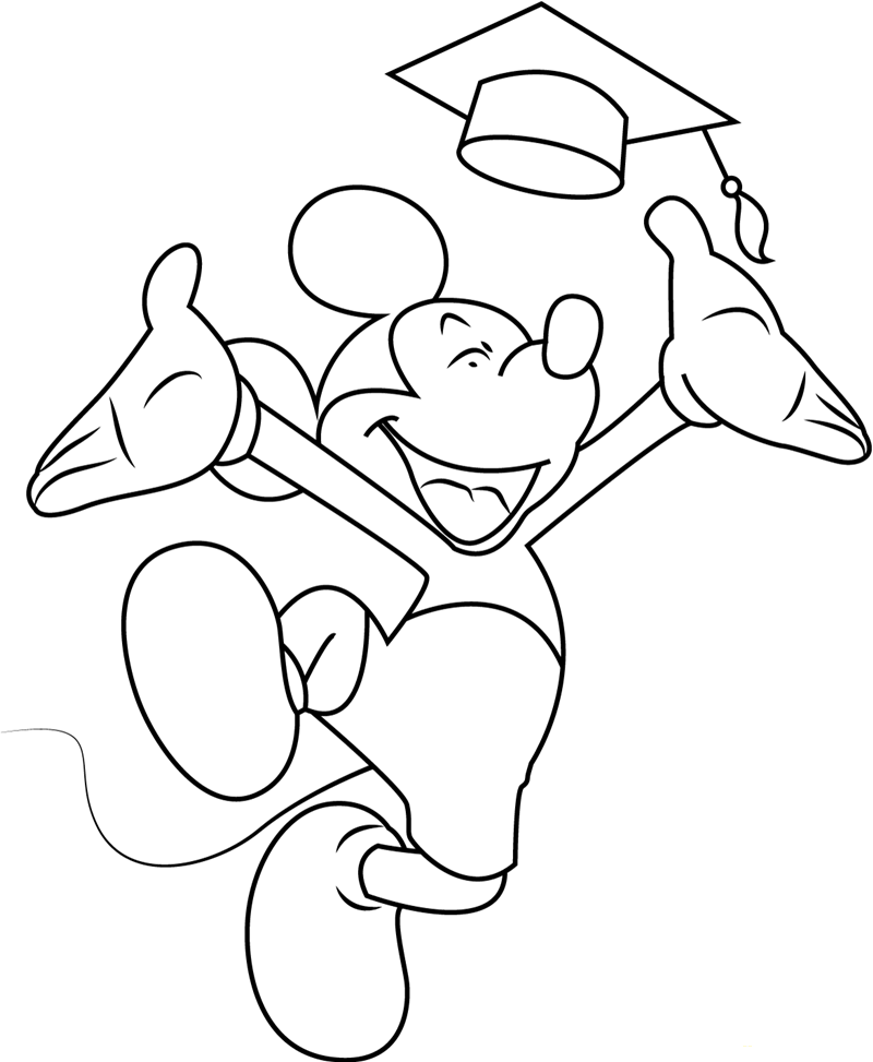 Mickey Mouse At His Graduation Coloring Page