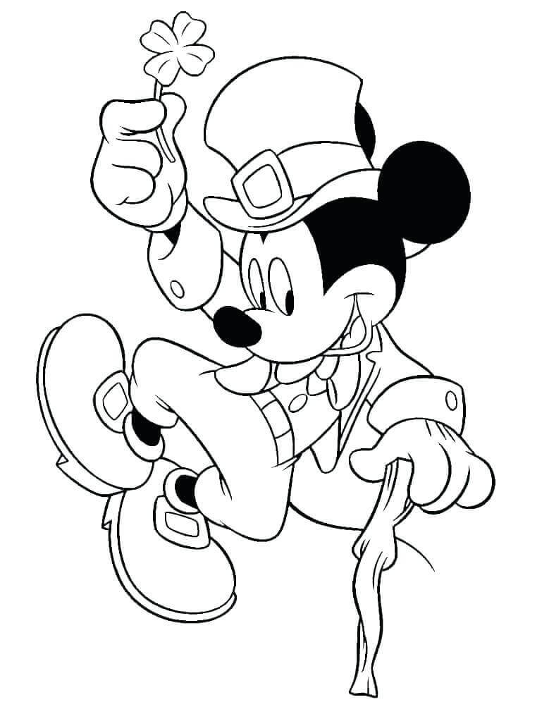 Mickey With Four Leaf Clover Coloring Page