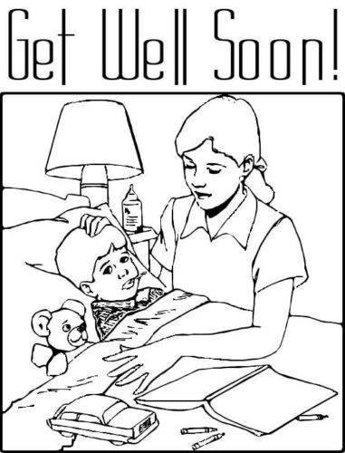 Mother Tending Child Coloring Page
