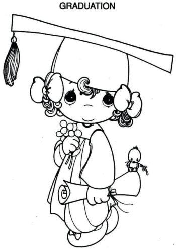 Precious Moments Kindergarten Graduation Coloring Page