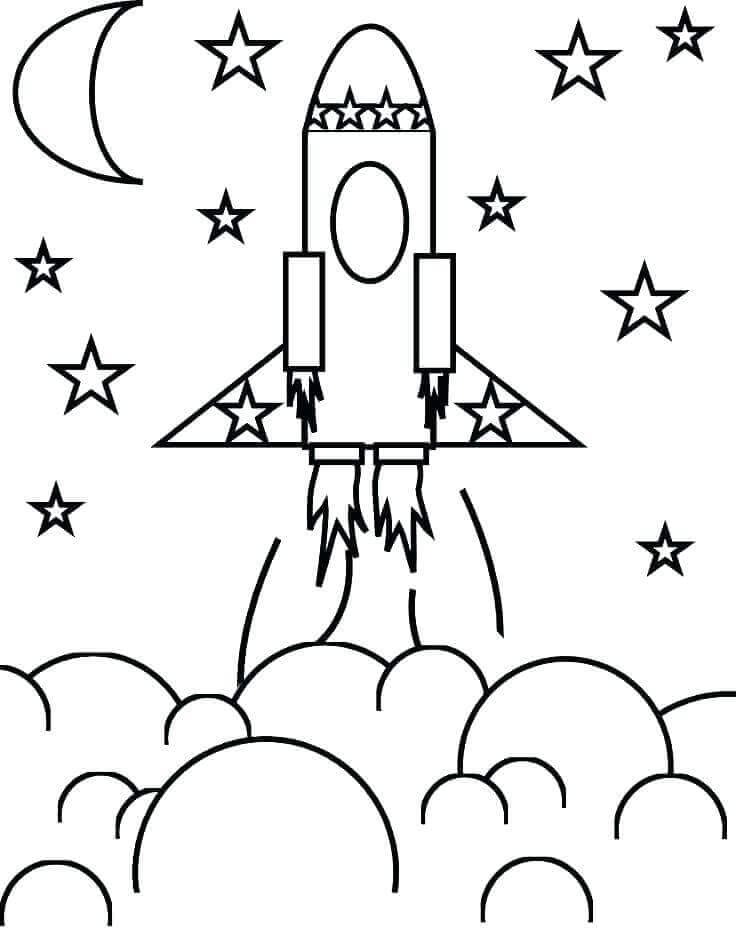 Rocket Leaving Earth Coloring Page