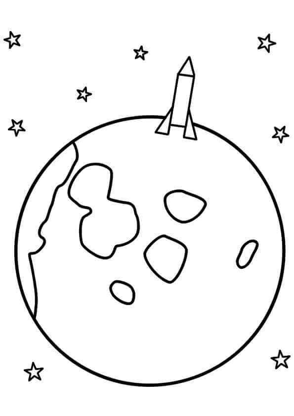 Rocket Ship On Moon Coloring Page