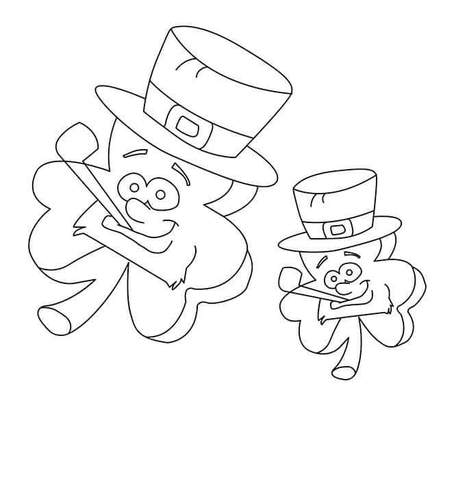 Shamrocks Dressed As Leprechaun Coloring Page