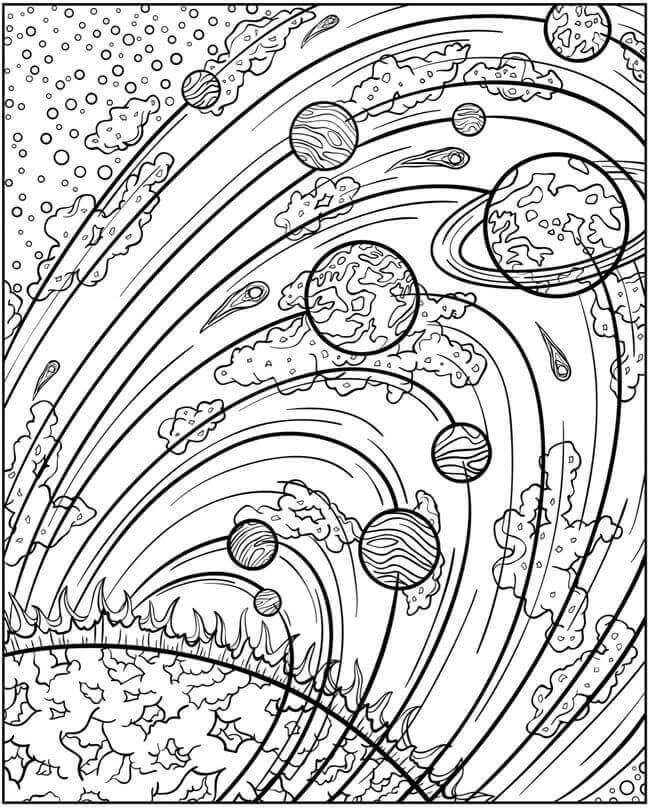 Solar System Orbit Coloring Page
