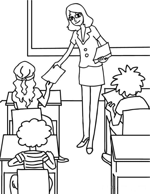 Teacher In Classroom Coloring Page