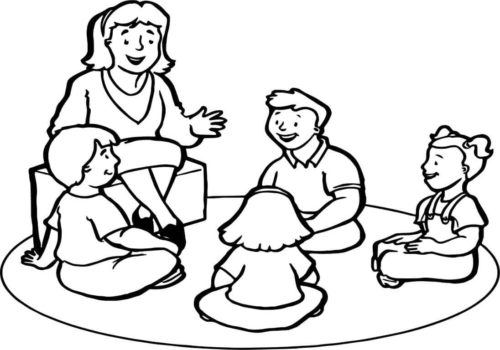 Teacher Narrating Story Coloring Page