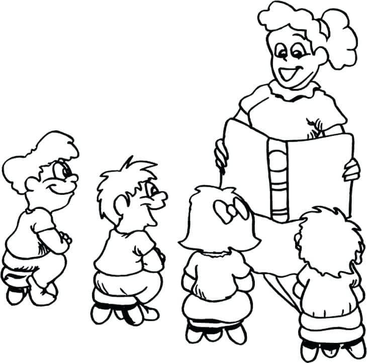 Teacher Students Coloring Page