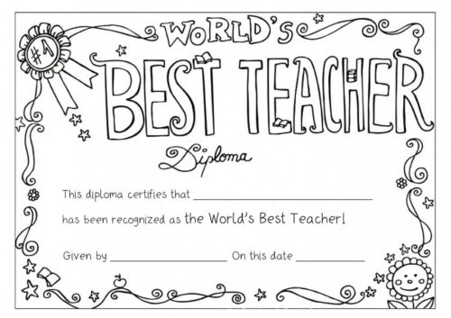 Worlds Best Teacher Coloring Page