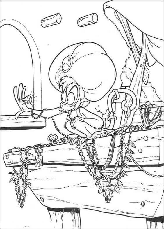 Abu Stealing Gold Coloring Page
