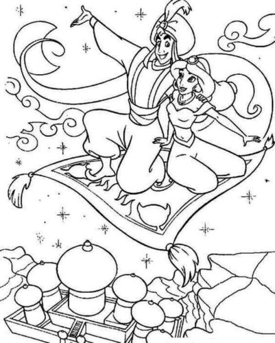 Aladdin Showing Agrabah To Jasmine Coloring Page