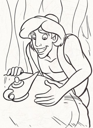 Aladdin With The Magic Lamp Coloring Page