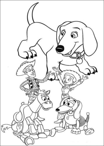 Buster With Toys Coloring Page