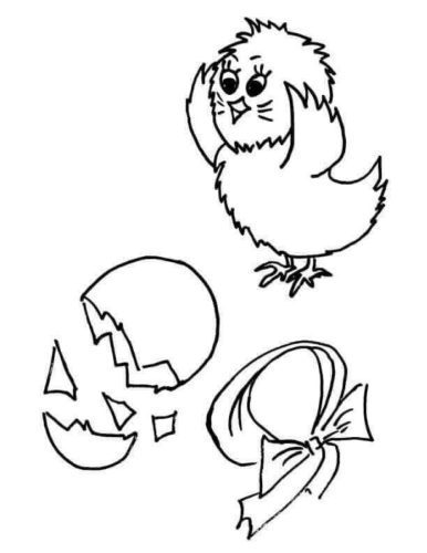 Chick And Easter Egg Coloring Page