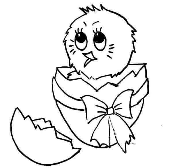 Chick Hatching From Easter Egg Coloring Page