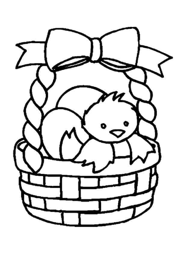 Chick In Easter Basket Coloring Page