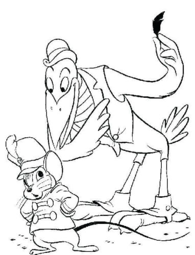 Crow And Timothy The Rat Coloring Page