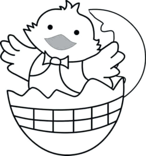 Cute Easter Chick Coloring Page