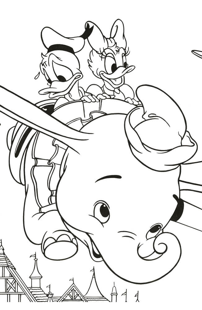 Donald And Daisy Duck With Dumbo Coloring Page