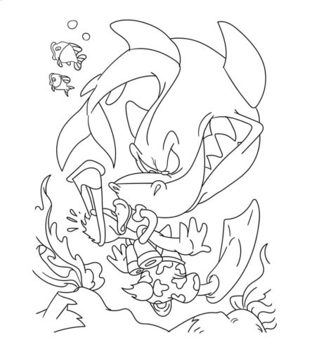 Donald Ducks Encounter With Shark Coloring Page