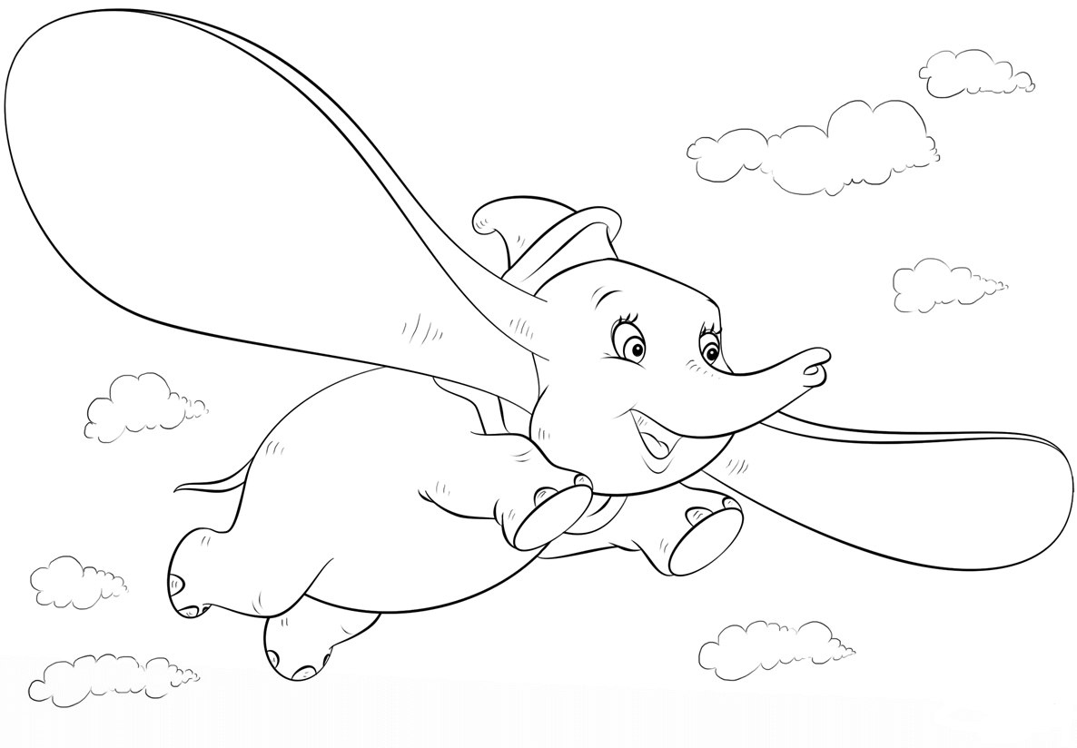 Dumbo Flying Coloring Page
