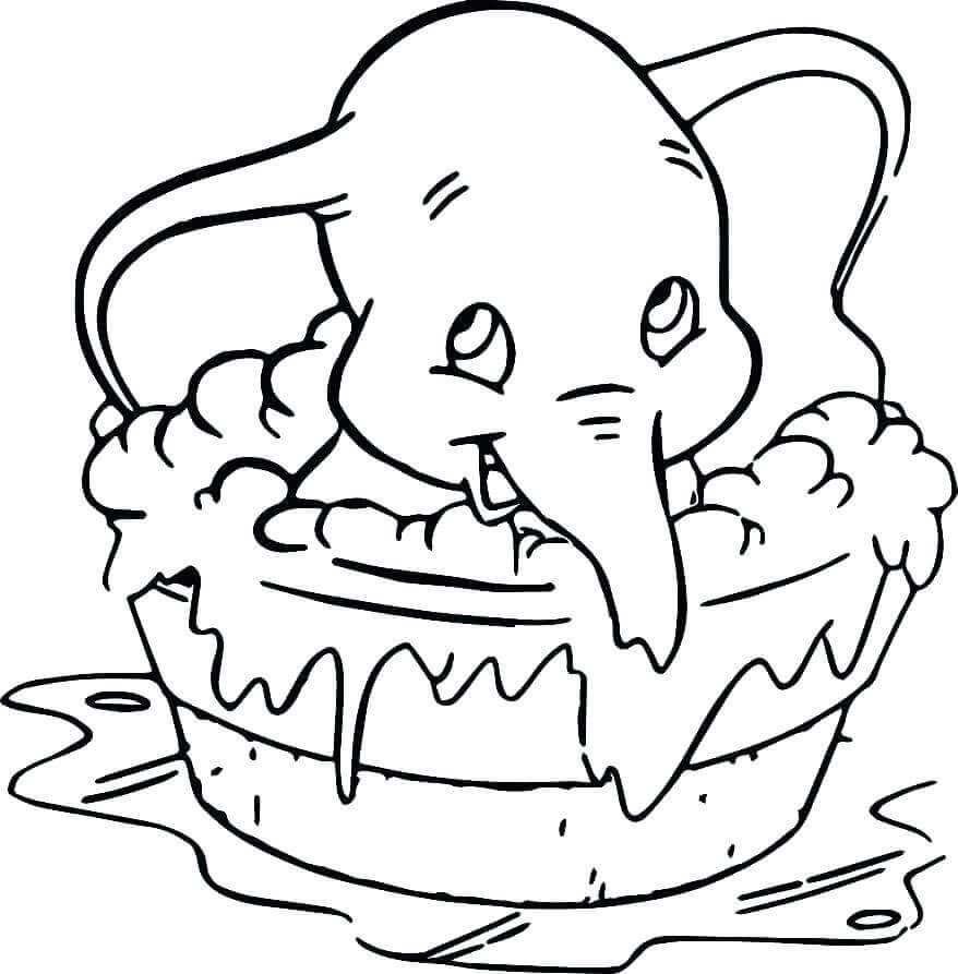Dumbo Taking A Bath Coloring Page