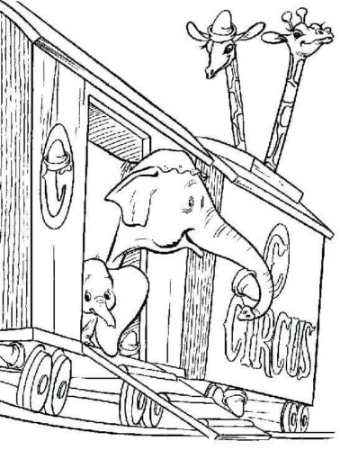 Dumbo With Mom Coloring Page