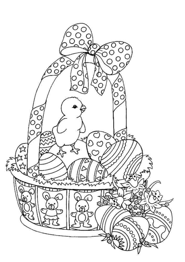 Easter Basket And Chicks Coloring Page