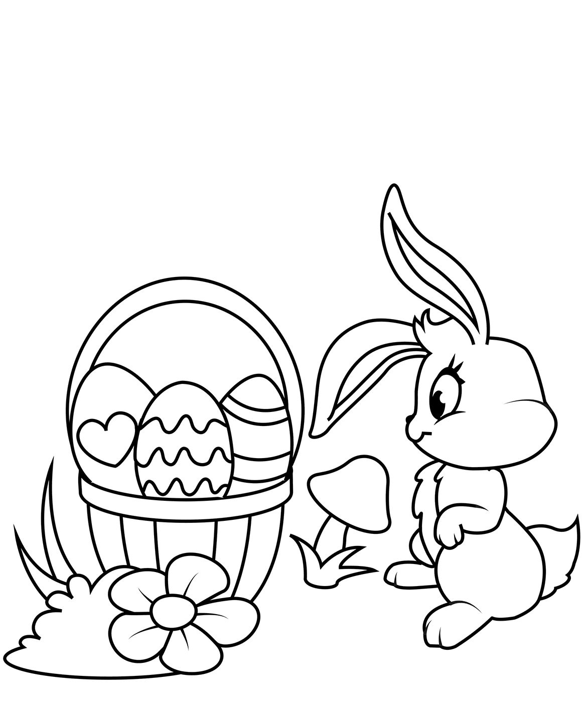Easter Bunny And Basket Coloring Picture