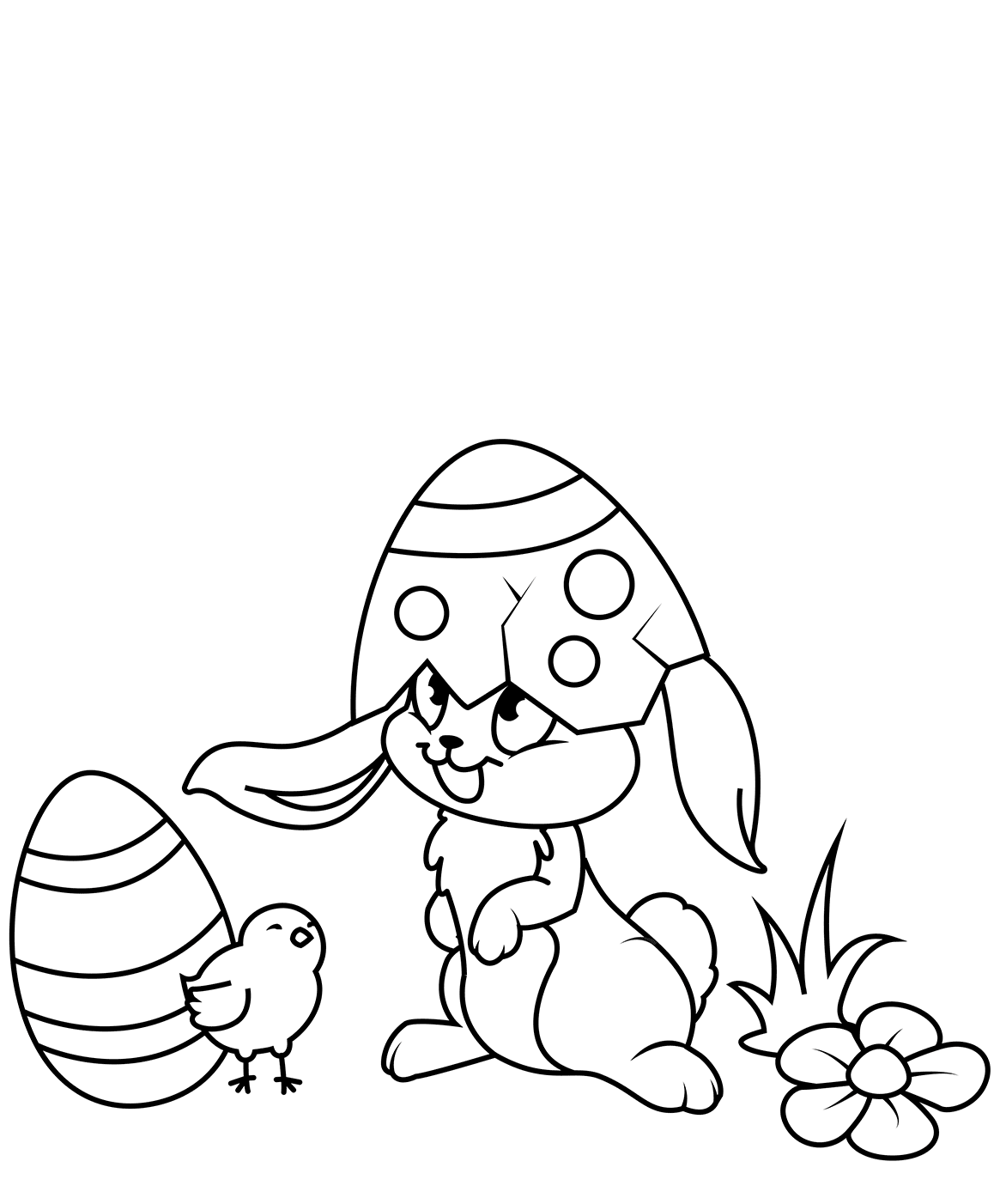 Easter Bunny And Chic Coloring Page
