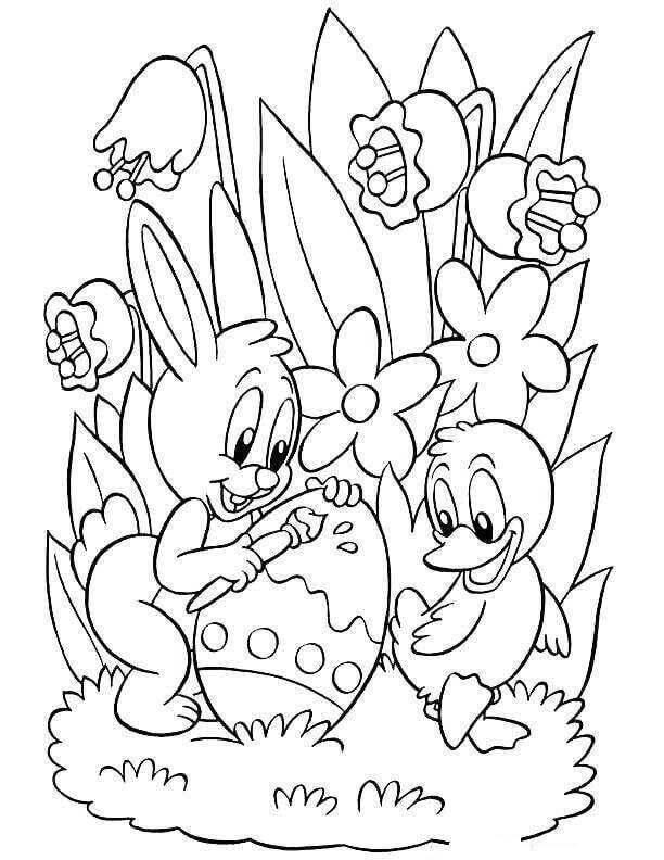 Easter Chick And Bunny Coloring Page