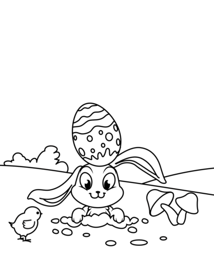 Easter Chick And Bunny Coloring Sheet