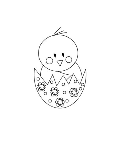 Easter Chick Coloring Page For Preschoolers