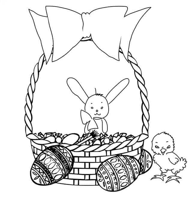 Easter Chicks And Basket Coloring Picture
