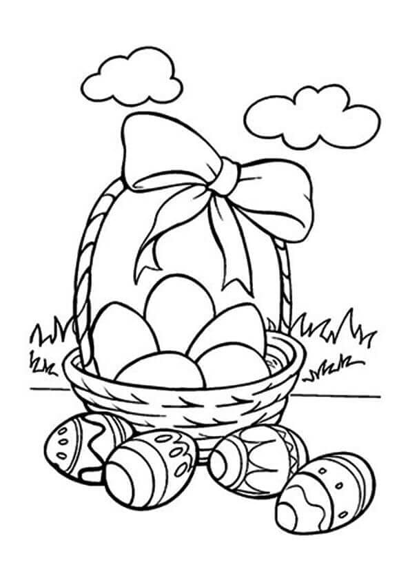 Easter Eggs In A Basket Coloring Page