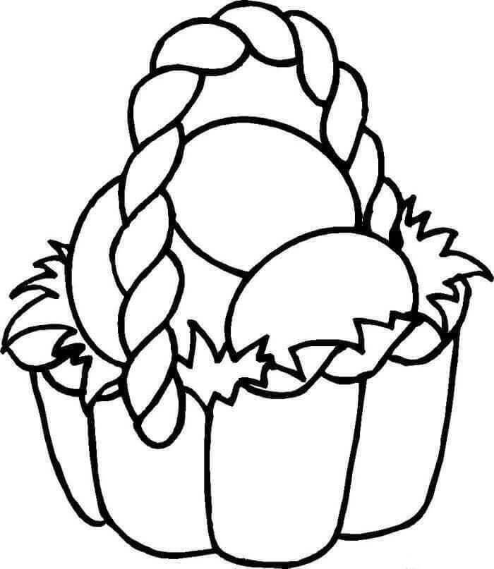 Easy Easter Basket Colouring Page