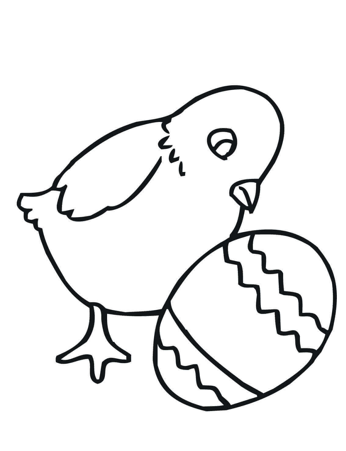 Easy Easter Chick Coloring Page