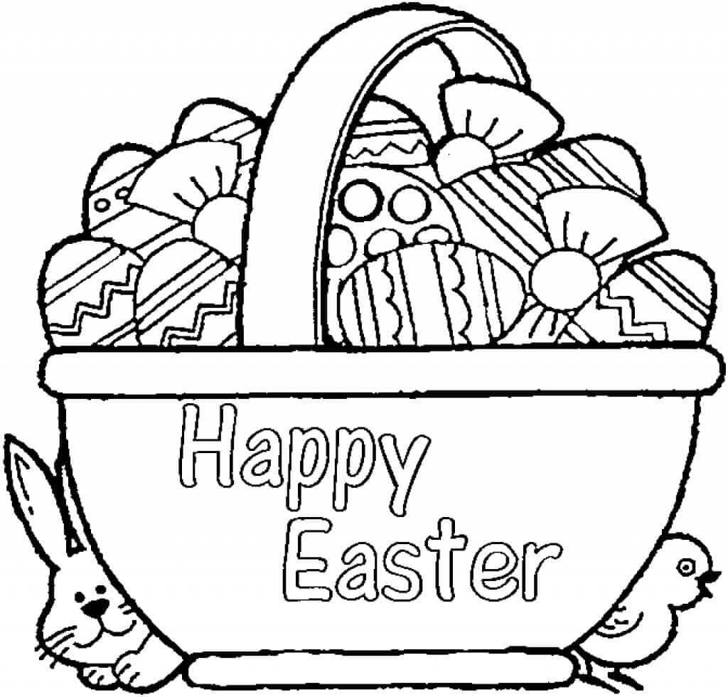 Happy Easter Basket Coloring Page