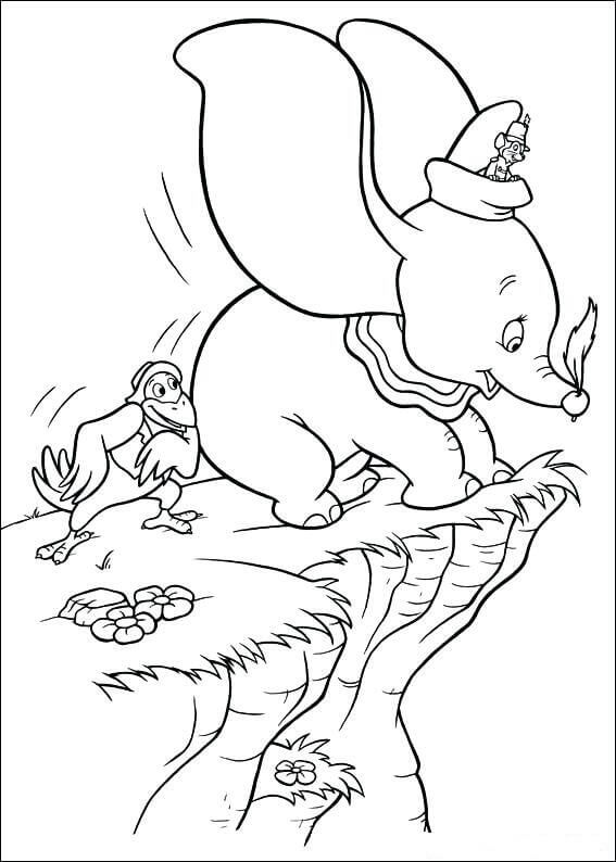 Jumbo With Timothy And Crow Coloring Page